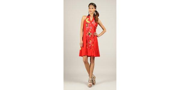 Dámske červené šaty s farebným vzorom Ziva