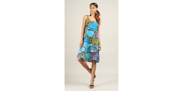 Dámske tyrkysové šaty s modrými lemami Ziva