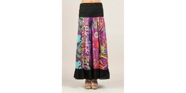 Dámska farebne vzorovaná sukňa s čiernymi lemami Ziva