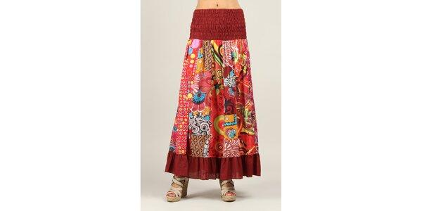 Dámska farebne vzorovaná sukňa s tmavo červenými lemami Ziva