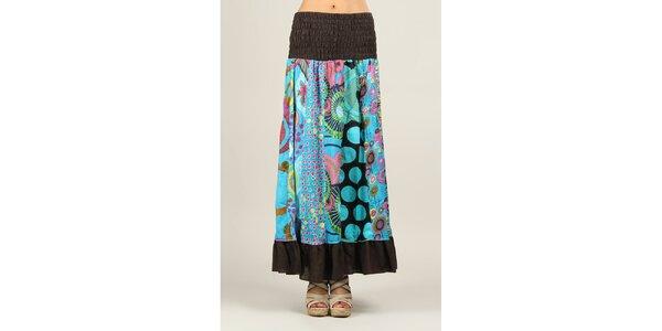 Dámska sukňa s viacfarebným vzorom a hnedými lemami Ziva
