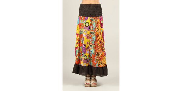 Dámska farebne vzorovaná sukňa s hnedými lemami Ziva