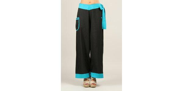 Dámske čierne nohavice s tyrkysovými detailmi Ziva