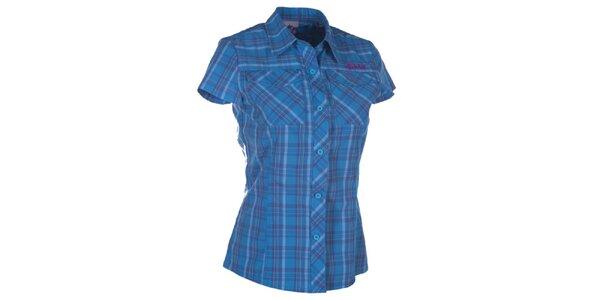 Dámska modrá kockovaná košeľa s krátkym rukávom Kilpi