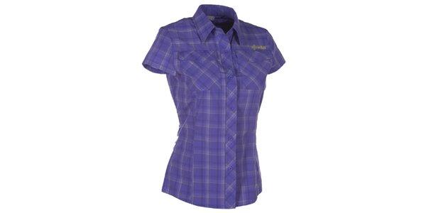 Dámska fialová kockovaná košeľa s krátkym rukávom Kilpi