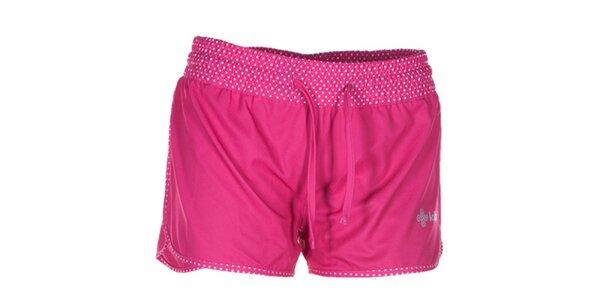 Dámske ružové šortky s bodkovanými lemami Kilpi