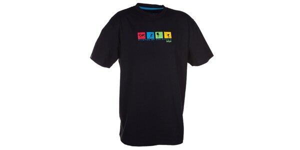 Pánske čierne tričko s farebnou potlačou na hrudi Kilpi