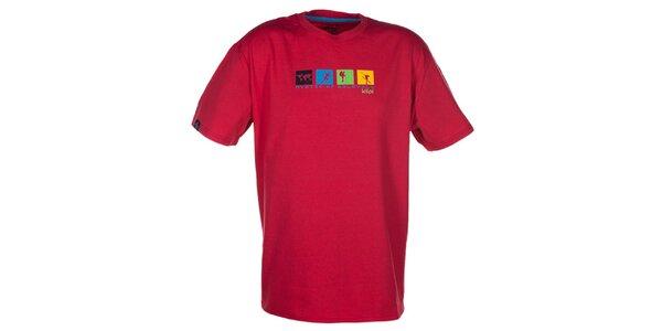 Pánske červené tričko s farebnou potlačou na hrudi Kilpi