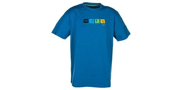 Pánske tyrkysovo modré tričko s farebnou potlačou na hrudi Kilpi