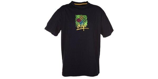 Pánske čierne tričko s farebnou potlačou Kilpi