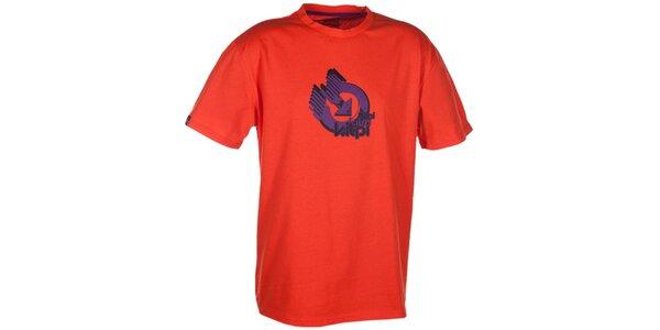 Pánske oranžové tričko s krátkym rukávom a farebnou potlačou Kilpi