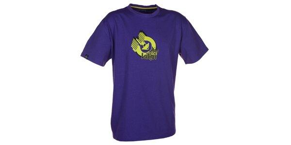 Pánske fialové tričko s krátkym rukávom a farebnou potlačou Kilpi