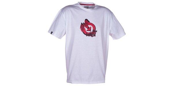 Pánske biele tričko s krátkym rukávom a farebnou potlačou Kilpi