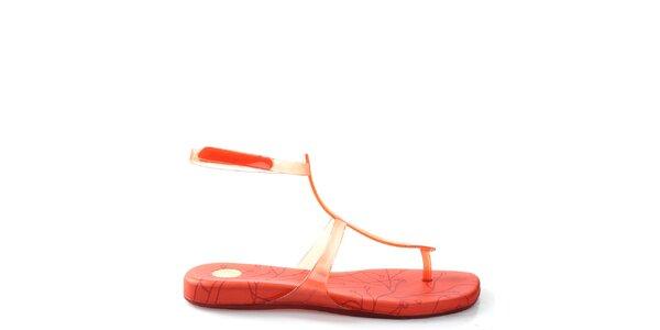 Dámske oranžové sandále so vzorom Melissa
