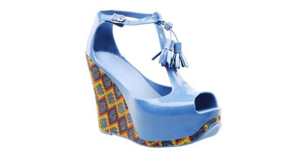 Dámske modré sandále na platforme Melissa