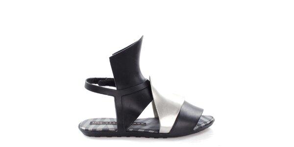 Dámske čierno-strieborné sandále Melissa