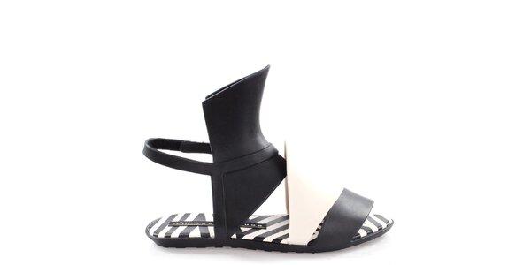 Dámske čierno-biele sandále Melissa