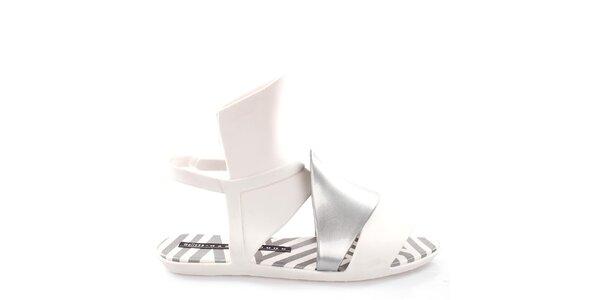 Dámske bielo-strieborné sandále Melissa
