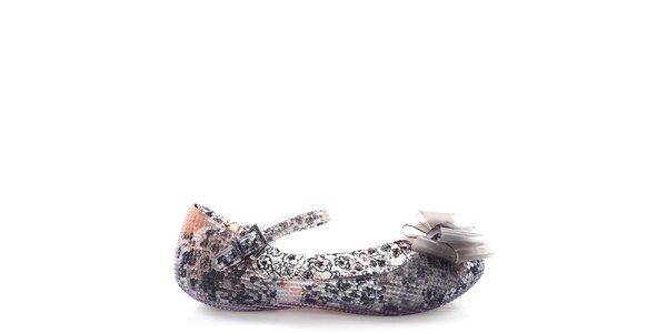 Dámske baleríny s čiernym vzorovaným vnútrajškom Melissa