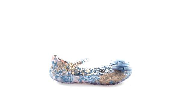 Dámske baleríny s modrým vzorovaným vnútrajškom Melissa