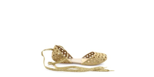 Dámske zlaté topánočky s perforáciou Melissa