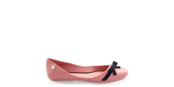 Dámske ružové balerínky s čiernou mašľou Melissa
