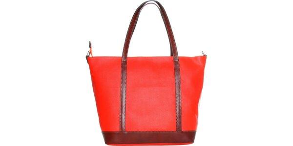Dámska ohnivo červená kabelka Made in Italia s hnedými ušami