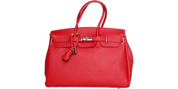 Dámska červená kožená kabelka Made in Italia