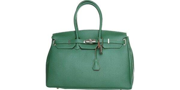 Dámska tmavo zelená kožená kabelka Made in Italia