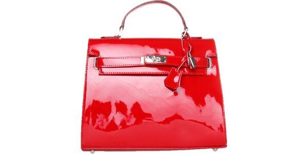 Dámska červená lakovaná kabelka Made in Italia