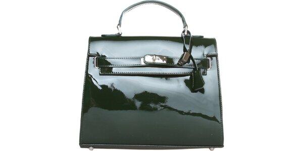 Dámska tmavo zelená lakovaná kabelka Made in Italia