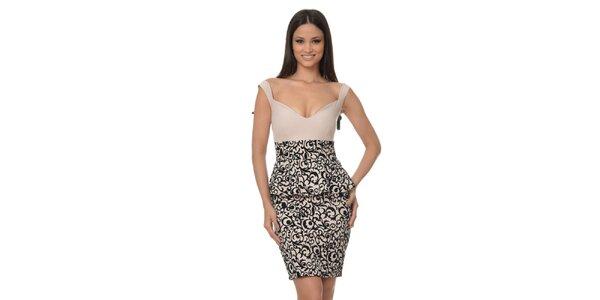 Dámske peplum šaty so vzorovanou sukňou Dia Vynne