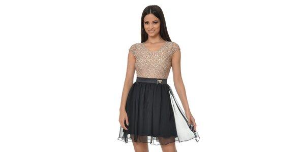 Dámske čierno-béžové šaty s kvetinami Dia Vynne