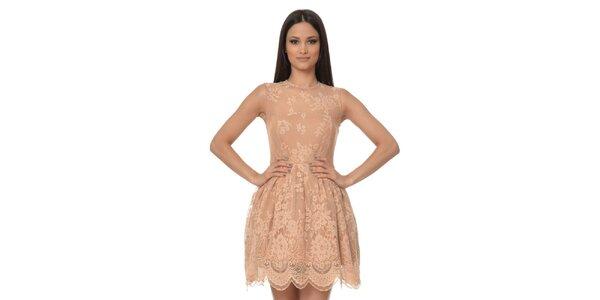 Dámske púdrové šaty s čipkou Dia Vynne