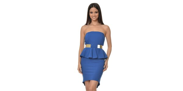 Dámske modré peplum šaty bez ramienok Dia Vynne