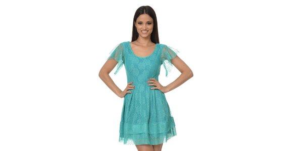 Dámske tyrkysové čipkové šaty Dia Vynne