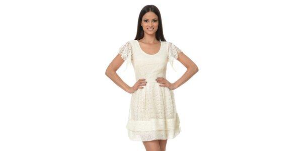 Dámske krémové čipkové šaty Dia Vynne