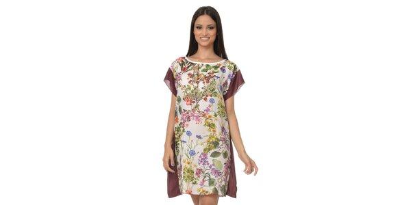 Dámske šatkové šaty s vínovými lemami Dia Vynne