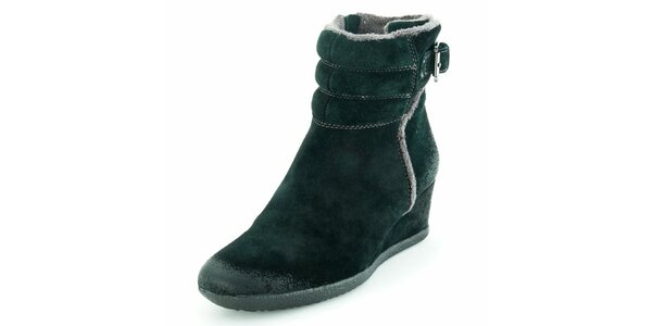 Dámske čierne semišové topánky na kline Geox