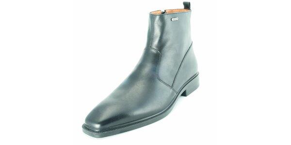 Pánske čierne kožené členkové topánky na zips Geox
