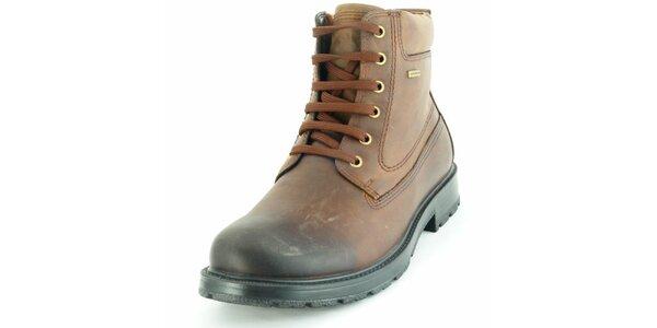 Pánske hnedé členkové topánky Geox