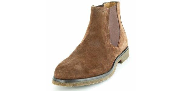Pánske hnedé semišové chelsea topánky Geox