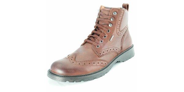 Pánske kožené hnedé členkové topánky Geox