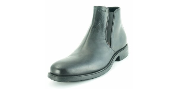 Pánske čierne kožené lesklé chelsea topánky Geox