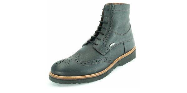Pánske čierne členkové topánky z kože Geox