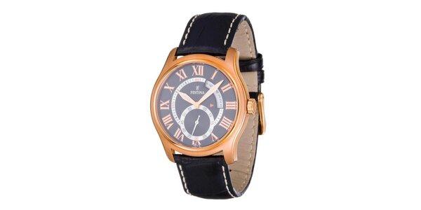 Pánske zlato-čierne oceľové hodinky Festina s čiernym koženým remienkom
