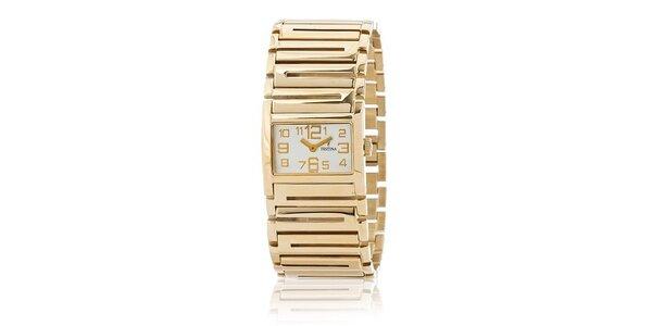 Dámske zlaté náramkové hodinky Festina so zlatými indexami
