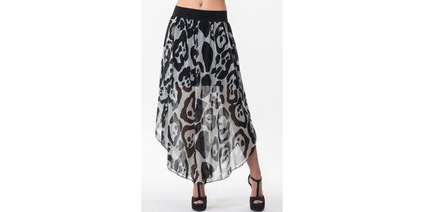 Dámska dvojvrstvová sukňa s čierno-bielym vzorom Sixie