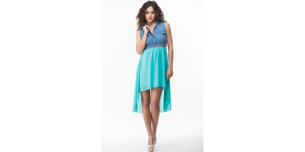 Dámske modro-tyrkysové šaty Sixie