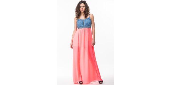 Dámske šaty s neonovo ružovou sukňou Sixie